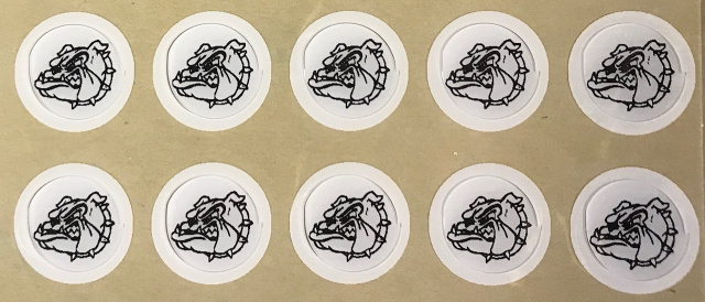 "10 Ampipe Bulldogs 1/2 "" award decals (from the movie "" All tthe Right Moves "" with Tom Cruise"