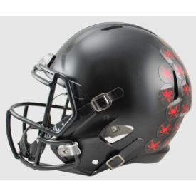 Ohio State Buckeyes Speed Replica Football Helmet Black with Red Leaf 2015