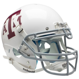 Texas A&M Aggies Authentic College XP Football Helmet Schutt White Gray Mask