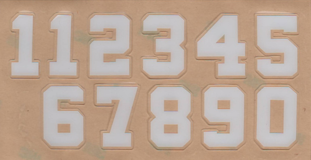 "3"" 1 color White Die Cut Number Decals Wide Block Style Two (11234567890) Sheet"