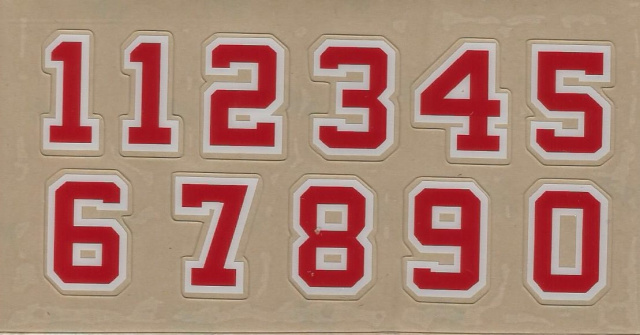 "1"" (Block Style #2) Scarlet outlined in white Rear Player Number"