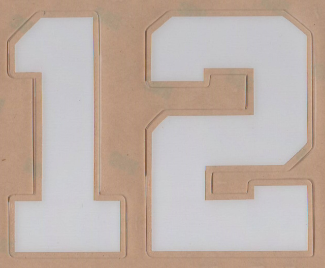 "Wide Block Style Two White 3"" tall Left and Right side player number Set"