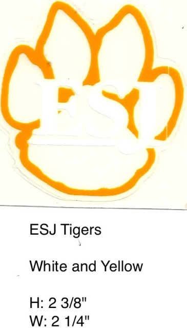 Tiger Paw ESJ Tigers white and clear oultined in yellow