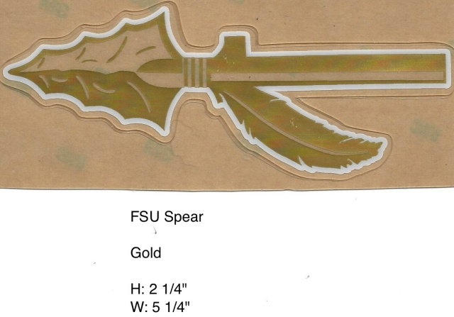 FSU Spear white, metalic gold, and clear