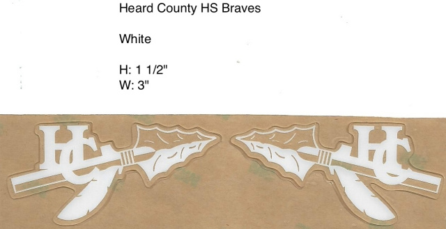 Heard County Braves Spear, white, and clear