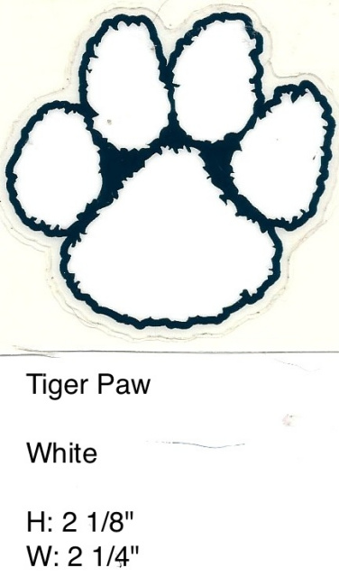 Tiger Paw White outlined in navy