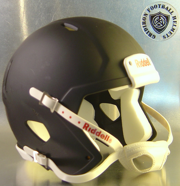 Riddell Speed Blank Mini Football Helmet Shell Matte Black with White Chin Strap