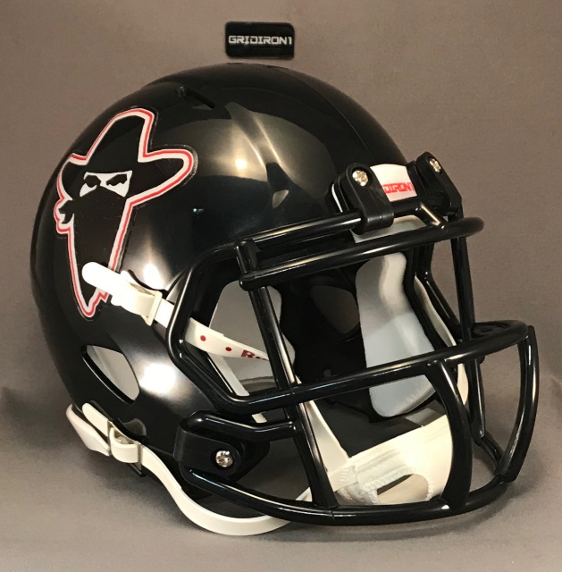 Oklahoma Outlaws 1984 scarlet / white outline (includes accurate black facemask clips)